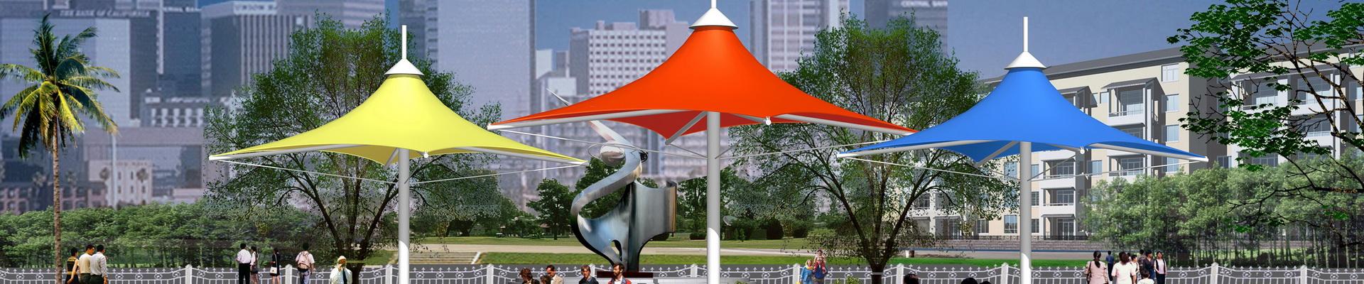 景观张拉膜结构建筑雨伞