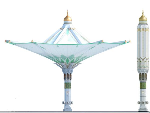 张拉膜建结构筑雨伞